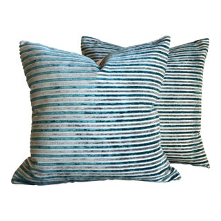 Turquoise & Grey Stripes Velvet Square Pillows - A Pair
