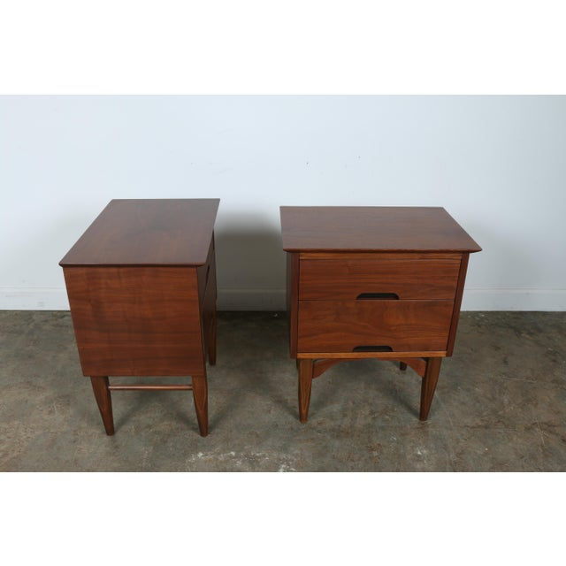 Mid-Century Walnut Nightstands - A Pair - Image 9 of 11