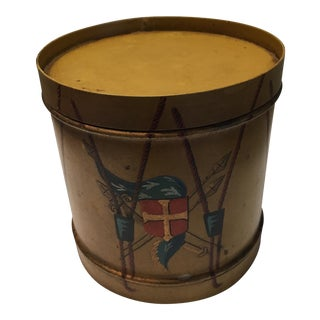 Antique French Tin Drum Container