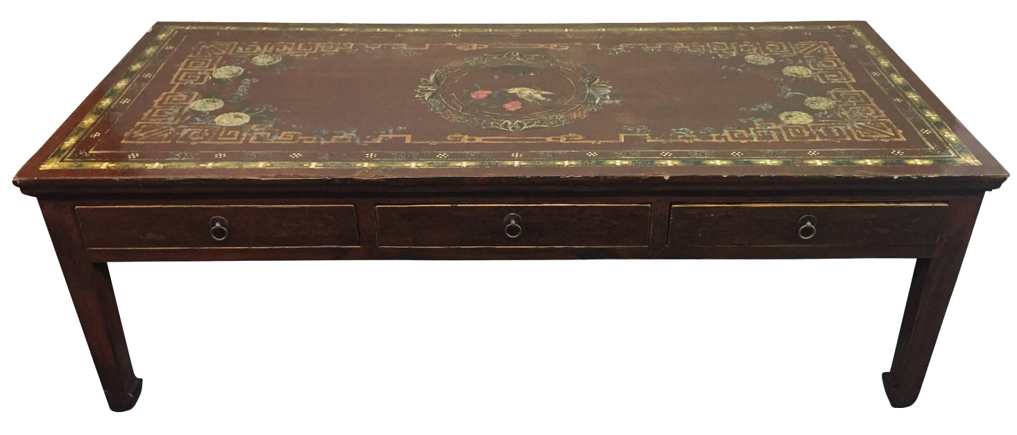 Vintage Asian Painted Cocktail Table | Chairish