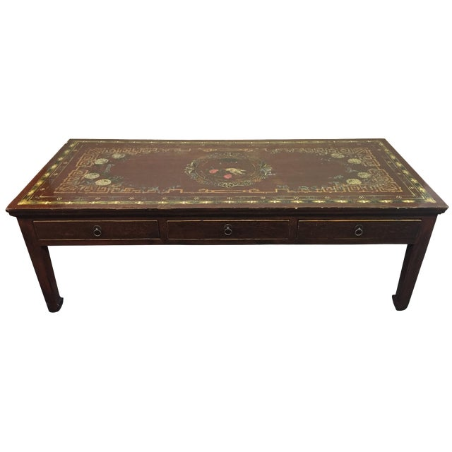Painted Retro Coffee Table: Vintage Asian Painted Cocktail Table