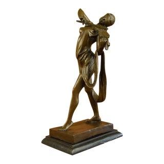 Nude Blindfold Female Violin Player Bronze Sculpture