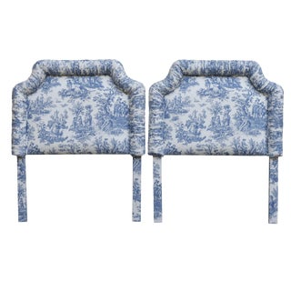 Blue & White Toile Upholstered Twin Headboards - A Pair