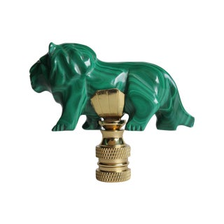Malachite & Brass Lion Lamp Finial