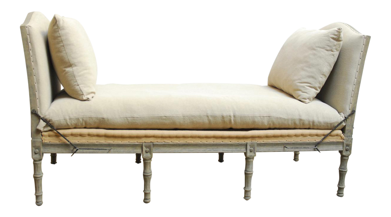 Gustavian Style Farmhouse Linen Daybed Bench