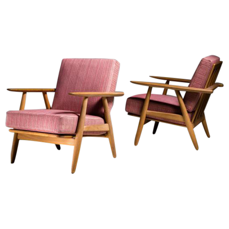 pair of hans wegner ge240 chair in oak denmark 1950s image