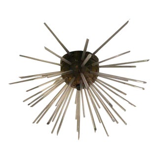 Spiked Brass & Lucite Flush Mount Chandelier