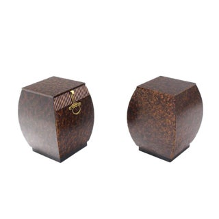 Pair of Bombey Barrel Shape Widdicomb End Tables Stands Brass Hardware Pulls