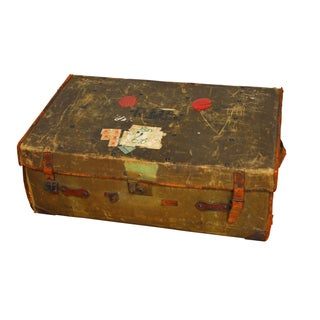 Antique Campaign Steamer Travel Trunk Luggage