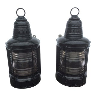 Antique Nautical Porch Lanterns - A Pair
