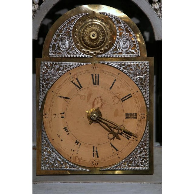 Late 18th Century French Carved Painted Grandfather Clock - Image 8 of 9