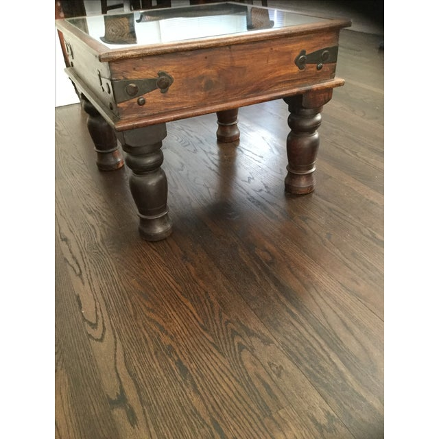 Glass-Top Dark Wood Table - Image 3 of 4