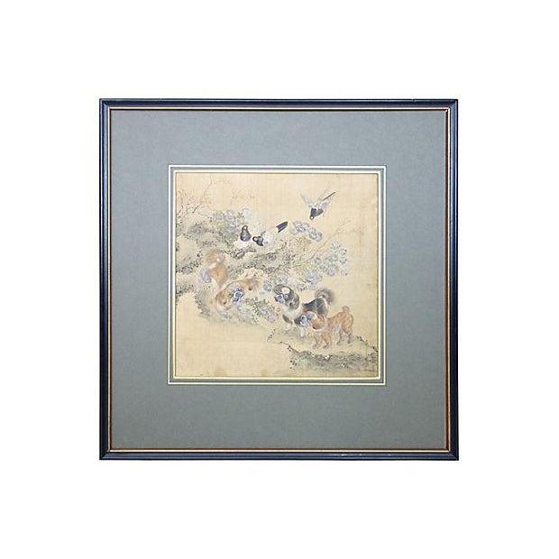 Image of 19th C. Pekingese Dog Watercolors - A Pair