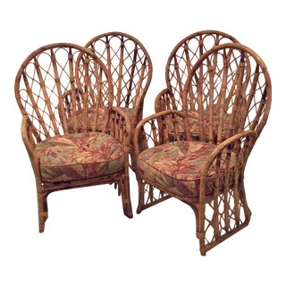 Faux Bamboo Rattan Wicker Arm Dining Chairs - Set of 4