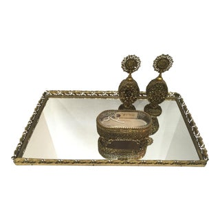 Vintage Mirrored Filigree Vanity Tray Set - S/4