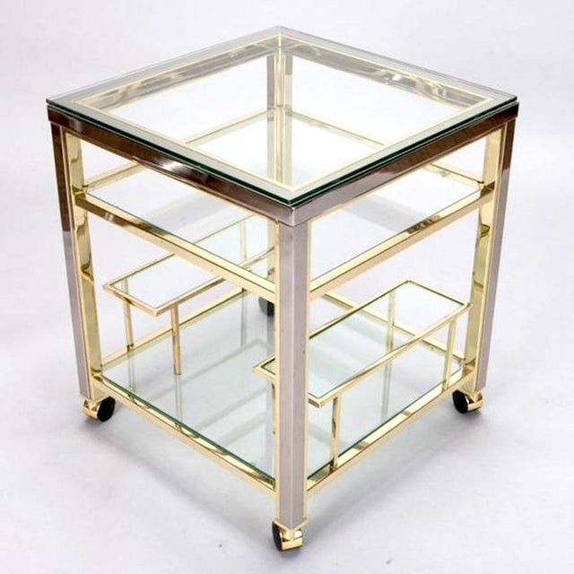 Mid-Century Modern Brass and Glass Trolley Table Gold Bar Cart - Image 4 of 4
