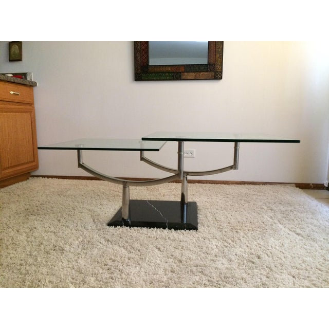 Modern Glass, Chrome & Marble Base Swivel Coffee Table - Image 4 of 11