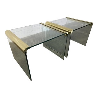 Mid-Century Modern Pace Collection Waterfall Tables in Glass & Brass - A Pair