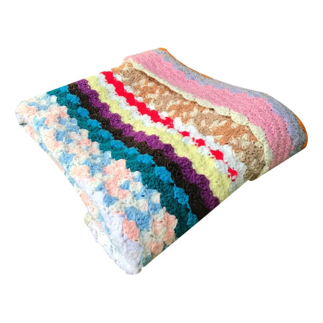 Vintage Rainbow Crochet Blanket - Image 1 of 5