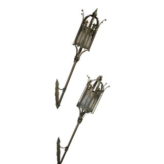 Painted Wall Torch Sconces - A Pair