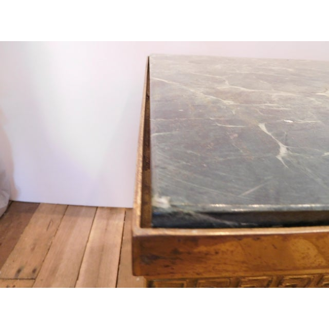Image of Vintage Art Deco Green Marble & Brass Coffee Table