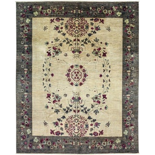 """Suzani, Hand Knotted Ivory Wool Area Rug - 8' 1"""" X 10' 0"""""""