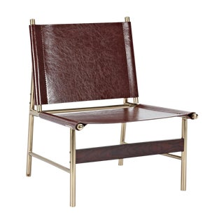 Minimalist Aged Cognac Accent Chair