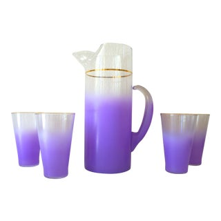 Mid-Century Purple Frosted Barware - Set of 5
