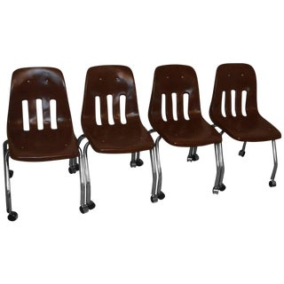 Desk Chairs Set of Four with Chrome Legs and Vinyl Shell on Wheels, circa 1970