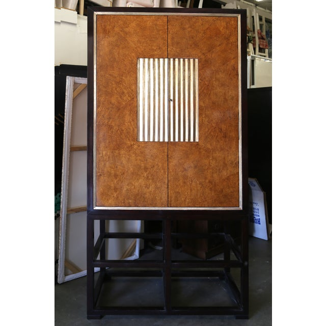 Tall Asian Modern Burl Wood Armoire - Image 3 of 6
