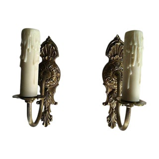 Gustavian-Style Brass Sconces - A Pair