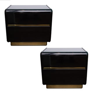 Lane Black Lacquer Nightstands - A Pair