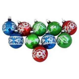 Mid-Century Glitter Christmas Tree Ornaments w/Box - Set of 10