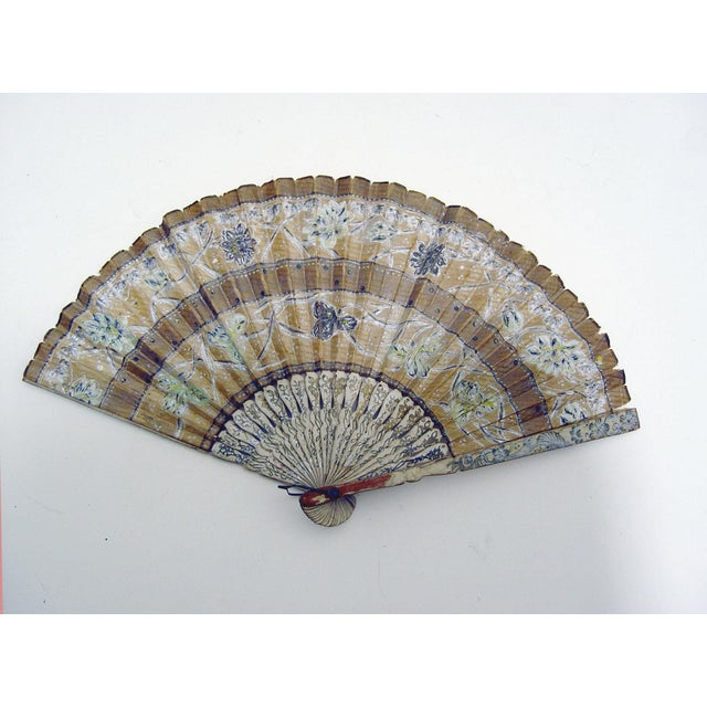 Vintage Hand Painted Paper Fan - Image 2 of 4