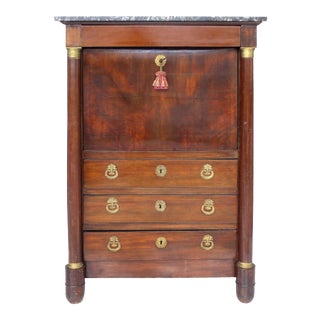 19th C. French Empire Drop-Front Secretary Desk