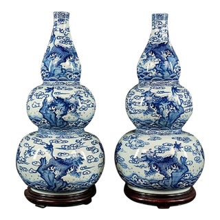 Large Stylish Pair of Chinese Blue & White Triple Gourd Porcelain Vases