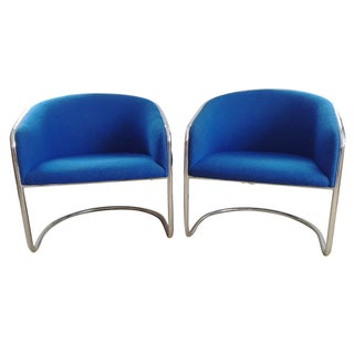 Thonet Chrome Cantilevered Barrel Chairs - A Pair