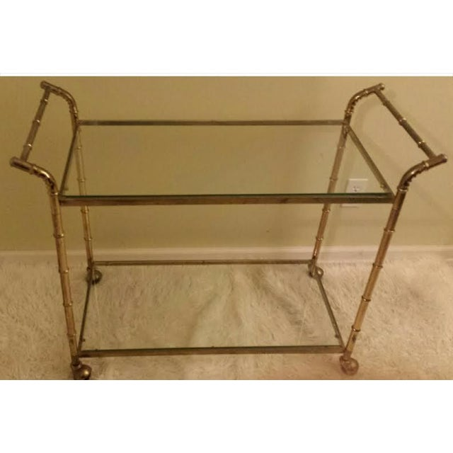Faux Bamboo Brass Bar Cart - Image 3 of 8