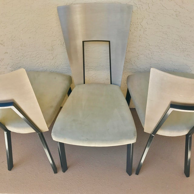 Modern Curved Aluminum & Suede Dining Chairs - Set of 4 - Image 5 of 7