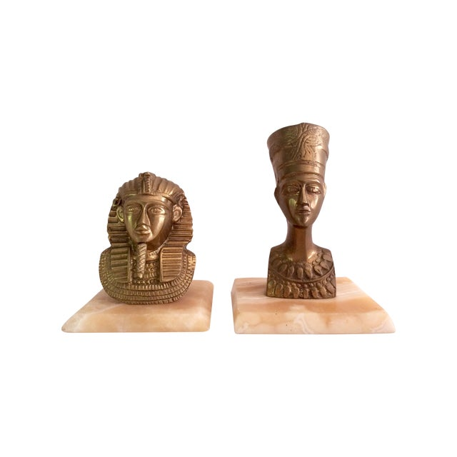 Image of Brass Nefertiti and King Tut Sculptures - A Pair