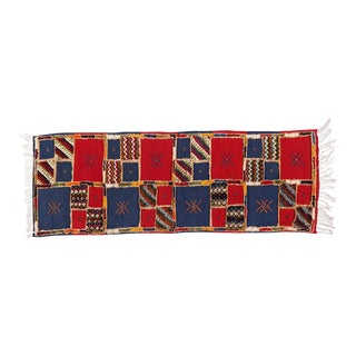 Red Blue Handwoven Moroccan Berber Runner - 2′ × 6′8″