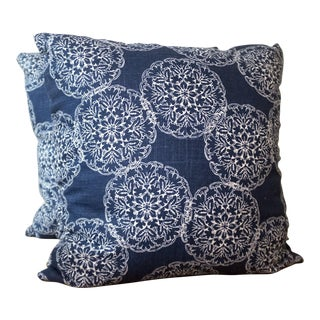 John Robshaw Indigo Linen Pillows - Pair