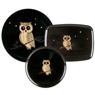 Couroc of Monterey Black Owl Trays - Set of 3