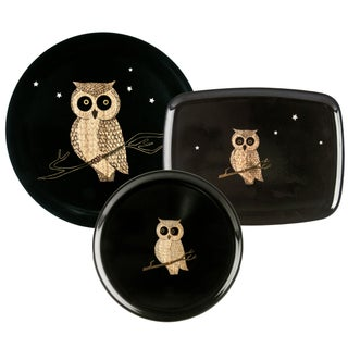 Couroc of Monterey Black Owl Trays - Set of 3
