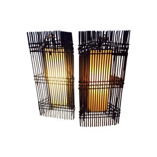 Woven Steel Mid-Century Pendant Lights - A Pair