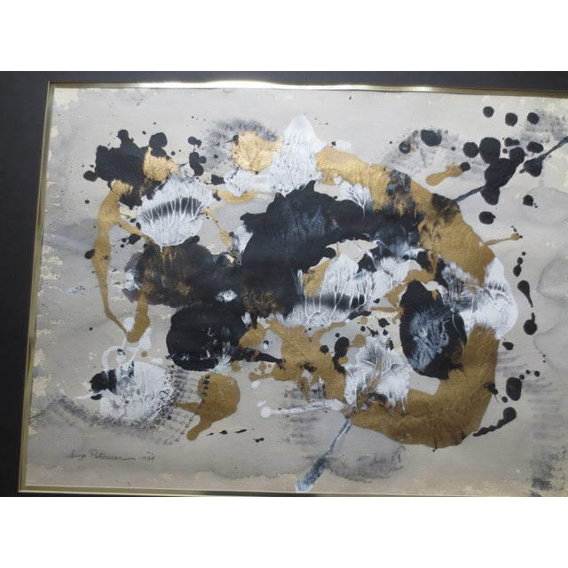 1984 Large Russian Gold & Black Gouache Abstact - Image 3 of 7