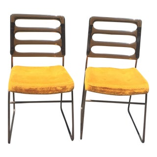 Mid-Century Chrome Craft Amber Lucite & Orange Chairs - A Pair