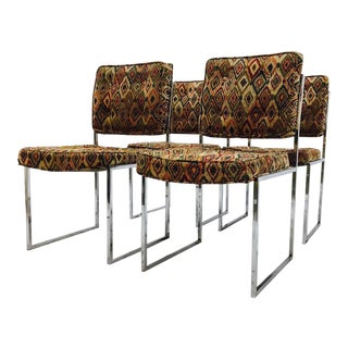 Vintage Mid-Century Modern Chrome Frame Chairs - Set of 4