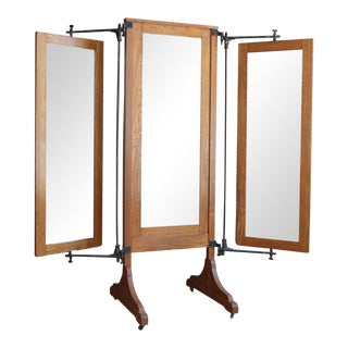 Antique Oak Tri-Fold Dressing Mirror