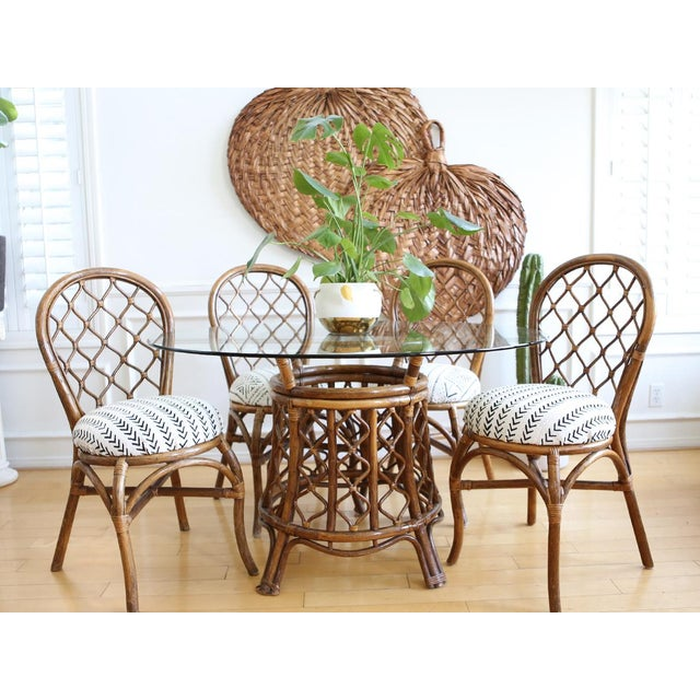 Bamboo Dining Table with Mudcloth Chairs - Set of 5 - Image 3 of 11